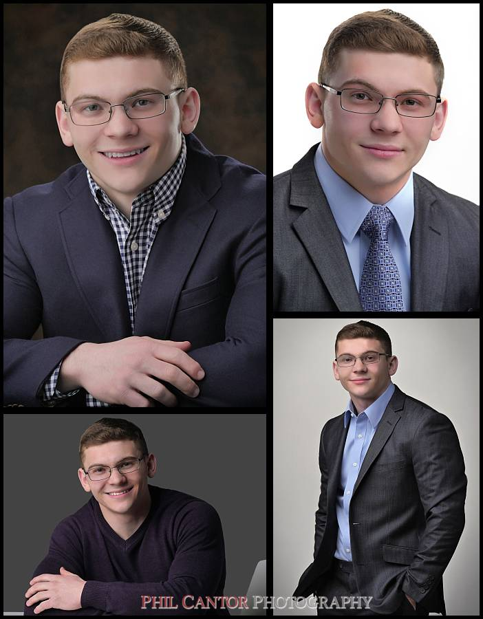 collage of a professional headshot session
