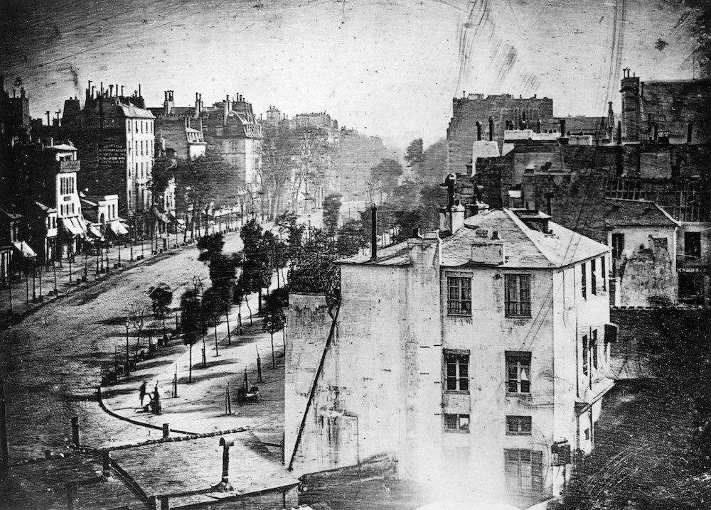 Daguerre's first photograph of a human