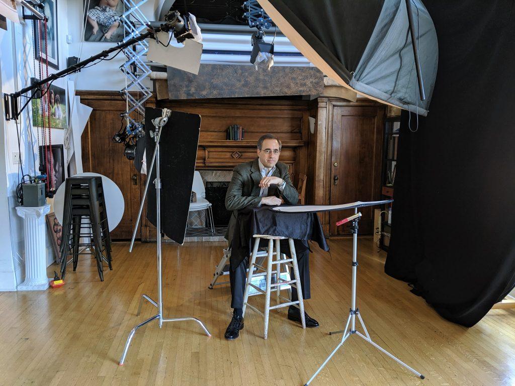 Headshot session in photo studio